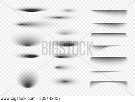 Shadow Set On Transparent Background. Oval Shadows And Round Shades With Soft Edges. Vector Illustra