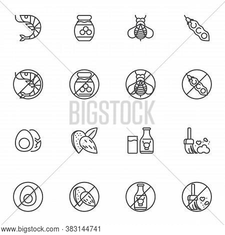 Allergen Food Line Icons Set, Allergy Symptoms Outline Vector Symbol Collection, Linear Style Pictog