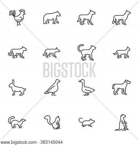 Zoo Animals Line Icons Set, Outline Vector Symbol Collection, Linear Style Pictogram Pack. Signs, Lo
