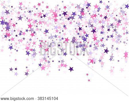 Flying Stars Confetti Holiday Vector In Pink Violet Purple On White. Magic Sparkles Decorative Print