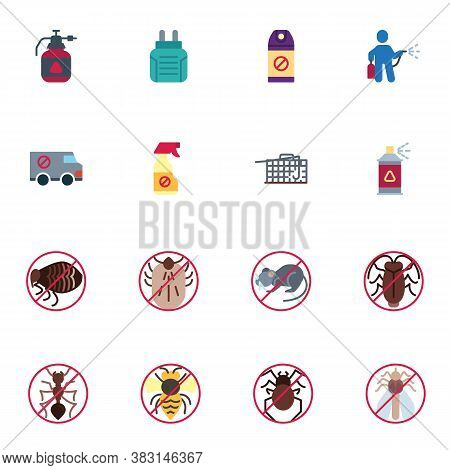 Pest Control Elements Collection, Flat Icons Set, Colorful Symbols Pack Contains - Mousetrap, Disinf