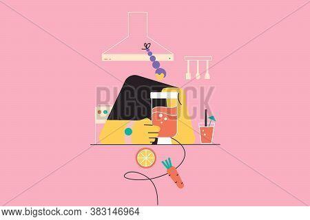 Heatlh, Care, Food, Drink, Vegetarian, Cooking Concept. Happy Young Woman Girl Vegan Preparing Tasty