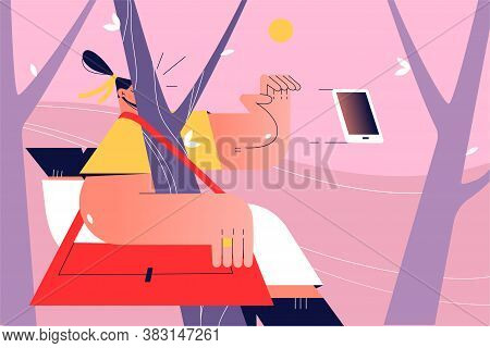 Accident, Pain, Trauma, Carelessness, Distraction Concept. Young Inattentive Woman Girl Teenager Acc