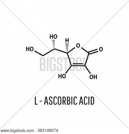 Vitamin C, L Ascorbic Acid Vector Illustration Isolated On White Background