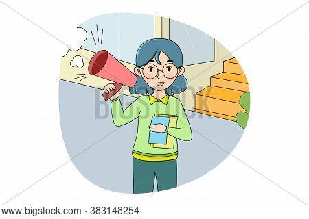 Marketing, Business, Referring, Avertisement, Volunteering Concept. Woman Girl Volunteer Stands With