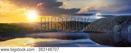 Day And Night Time Change Concept Above Mountain Lake Among The Forest. Trees In Colorful Foliage. B