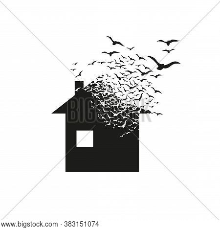 House With The Effect Of Distraction. Dispersion. Birds.