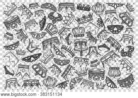 Crowns Doodle Set. Collection Of Hand Drawn Templates Sketches Patterns King Tiaras Or Queen Royal D
