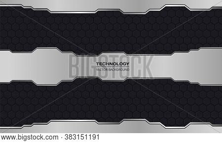 Black And Silver Technology Abstract Metallic Design Hi-tech Concept Innovation Dark Iron Hexagon Gr