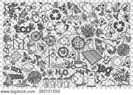 Ecology Doodle Set. Collection Of Hand Drawn Sketches Templates Patterns Of Eco Volunteering Gardeni