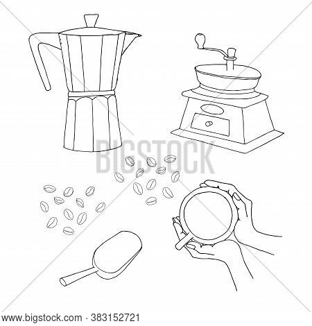 Coffe Hand Drawn Monochrome Set. Geyser Coffee Maker, Manual Coffee Grinder, Coffee Scoop Cup Of Cof