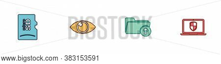 Set Micro Sd Memory Card, Eye, Download Arrow With Folder And Laptop Shield Icon. Vector