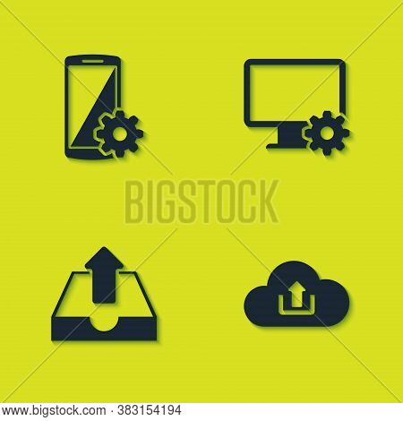 Set Setting On Smartphone, Cloud Upload, Upload Inbox And Computer Monitor And Gear Icon. Vector