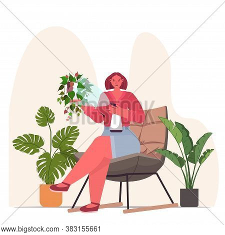 Woman Taking Care Of Houseplants Housewife Caring Of Her Plants Full Length Vector Illustration