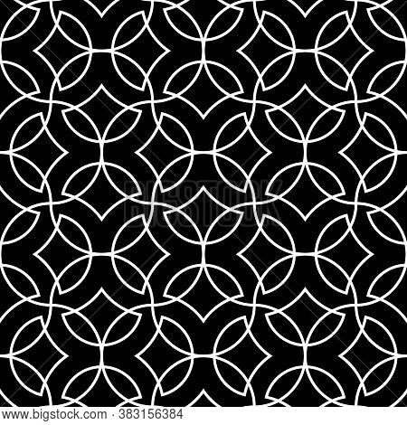 Seamless Surface Pattern Design With Overlapping Quatrefoil Figures. Oriental Traditional Ornament W