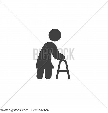 Elderly Woman With Paddle Walker Vector Icon. Filled Flat Sign For Mobile Concept And Web Design. Di