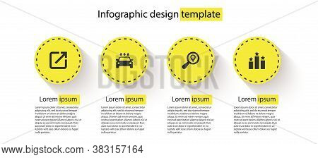 Set Open In New Window, Car Wash, Search Location And Ranking Star. Business Infographic Template. V