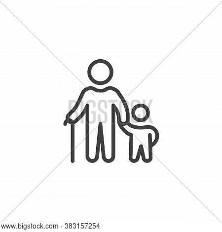 Senior Person And Child Line Icon. Linear Style Sign For Mobile Concept And Web Design. Grandpa With