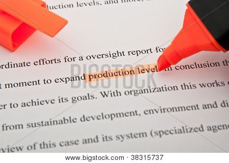 Production Level Highlighted