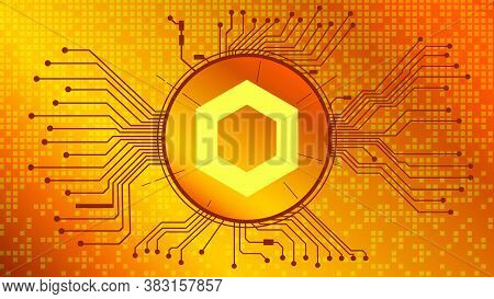 Chainlink Link Cryptocurrency Token Symbol Of The Defi Project In Circle With Pcb Tracks On Gold Bac