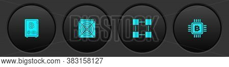Set Proof Of Stake, Asic Miner, Blockchain Technology And Cpu Mining Farm Icon. Vector