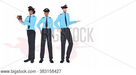 Male Police Officers Standing Together Policemen In Uniform Security Authority Justice Law Service C