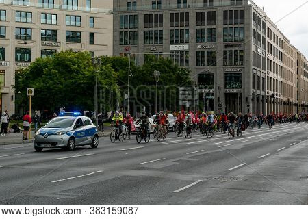 Berlin, Germany - 27 August 2020: Demonstrators On Bicycle Protest Against Cheap And Unethical Meat