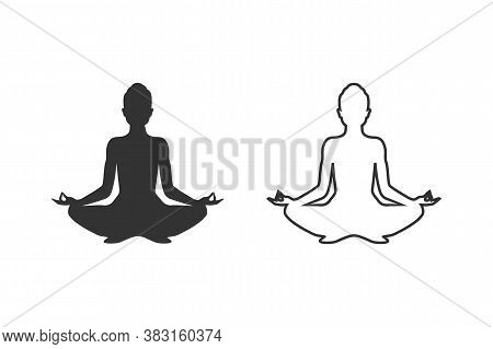 Yoga Line Icon Set. Lotus Position Silhouette. Vector Shape Modern Flat Style