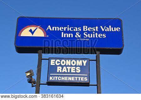 Bismarck, North Dakota, August 1, 2020:  American Best Value Inn, The Brand Name For A Motel Isowned