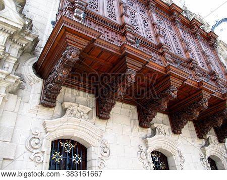 The Vintage Balcony Of Palace On Plaza De Armas, Plaza Mayor, Lima City, Peru, South America