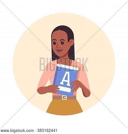 Primary School Teacher. Colorful Flat Design Vector Illustration. Woman Teacher With Alphabet Book