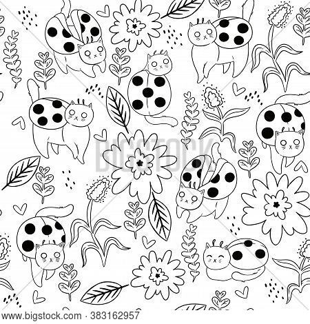 Coloring Page Seamless Pattern Cat Ladybugs. Vector Image