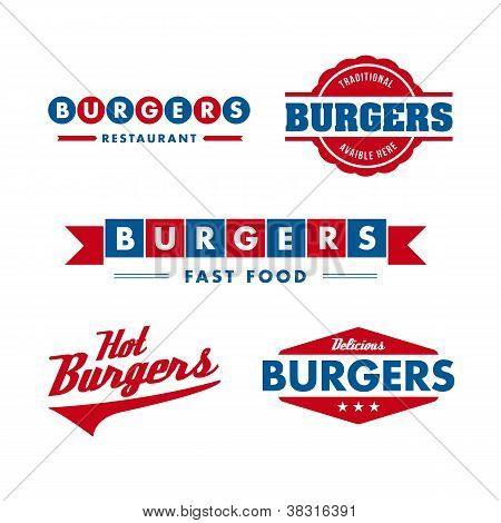 vintage fast food restaurant logo set