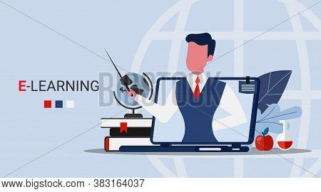 E-learning And E-teaching. School Teacher Teaching Pupils Online Through Laptop Screen Over Blue Bac