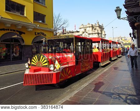 Lima / Peru - 01 May 2011: The Vintage Train On The Street In Lima City, Peru, South America