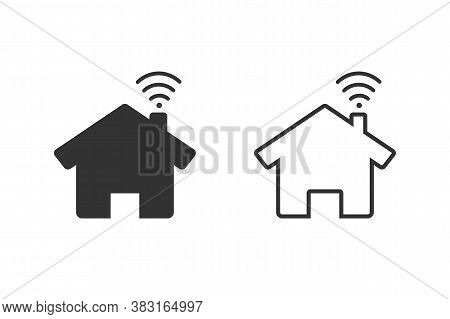 House And Wi-fi Sign Line Icon. Smart Home With Connected Devices Or Home Wi-fi. Vector