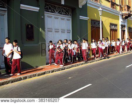 Lima / Peru - 01 May 2011: Kids On The Vintage Street In Lima City, Peru, South America