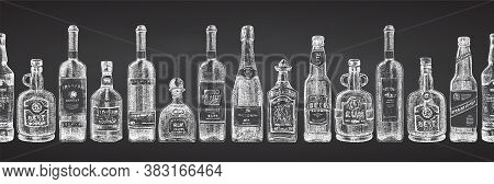 Seamless Pattern With Hand Drawn Sketch Glasses Bottle On Chalckboard Background Alcoholic Drinks Wi