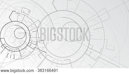 Modern Architecture. Architectural Schematic Building Plan, Abstract Gray Vector Background. Illustr
