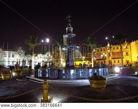 Lima / Peru - 03 May 2011: Plaza De Armas, Plaza Mayor, Lima City, Peru, South America