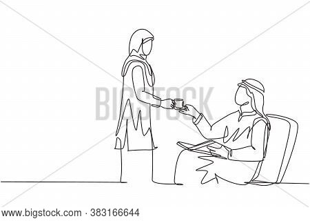 Single Continuous Line Drawing Of Young Wife Muslimah Giving A Cup Of Coffee To Her Muslim Husband.