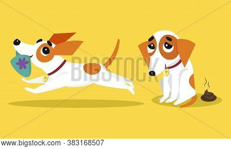 Jack Russell Terrier Character Carrying Slippers And Showing Guilty Face Vector Illustration Set