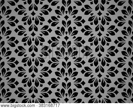 Flower Geometric Pattern. Seamless Vector Background. Black And Gray Ornament. Ornament For Fabric,