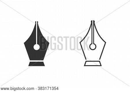 Black Fountain Pen Nib Line Icon Set Isolated On White Background. Pen Tool Sign. Vector