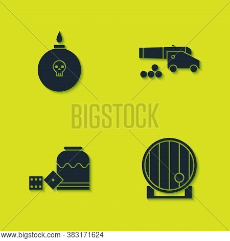 Set Bomb Ready To Explode, Wooden Barrel, Pirate Game Dice And Cannon With Cannonballs Icon. Vector
