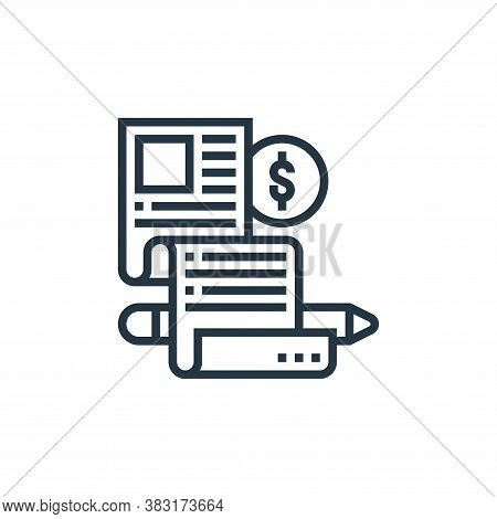 paid articles icon isolated on white background from digital marketing collection. paid articles ico