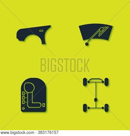 Set Car Fender, Chassis Car, Gear Shifter And Windscreen Wiper Icon. Vector