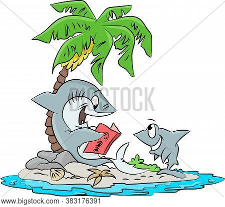 Cartoon Shark Reading A Book To His Son Vector Illustration