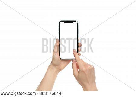 Mykolaiv, Ukraine - July 07, 2020: Woman Using Iphone 11 On White Background, Closeup. Mockup For De