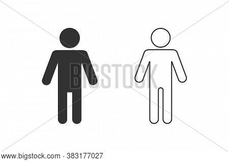 Man Lavatory Line Icon Set. Men Rest Room Sign. Toilet For Gents Symbol Vector. Males Wc Logo Templa